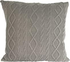 The Home Deco Factory, Acrylic Knitted Cushion with Removable Cover, Acrylic, Gray, 40x40x10 cm