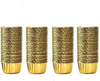100 Pieces Caissettes Cupcake, Moules de Cuisson en Papier d'Aluminium, Doublure à Gâteau en Aluminium, Papier Support de ...