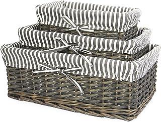 Panier en osier gris | Doublure rayée incluse | Rangement pour salle de bain, maison et buanderie | Organisateur en bois |...