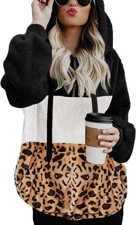 LOMON Women Sherpa Hoodies Fuzzy Fleece P Zip Max 77% OFF Sweatshirt Quarter Price reduction