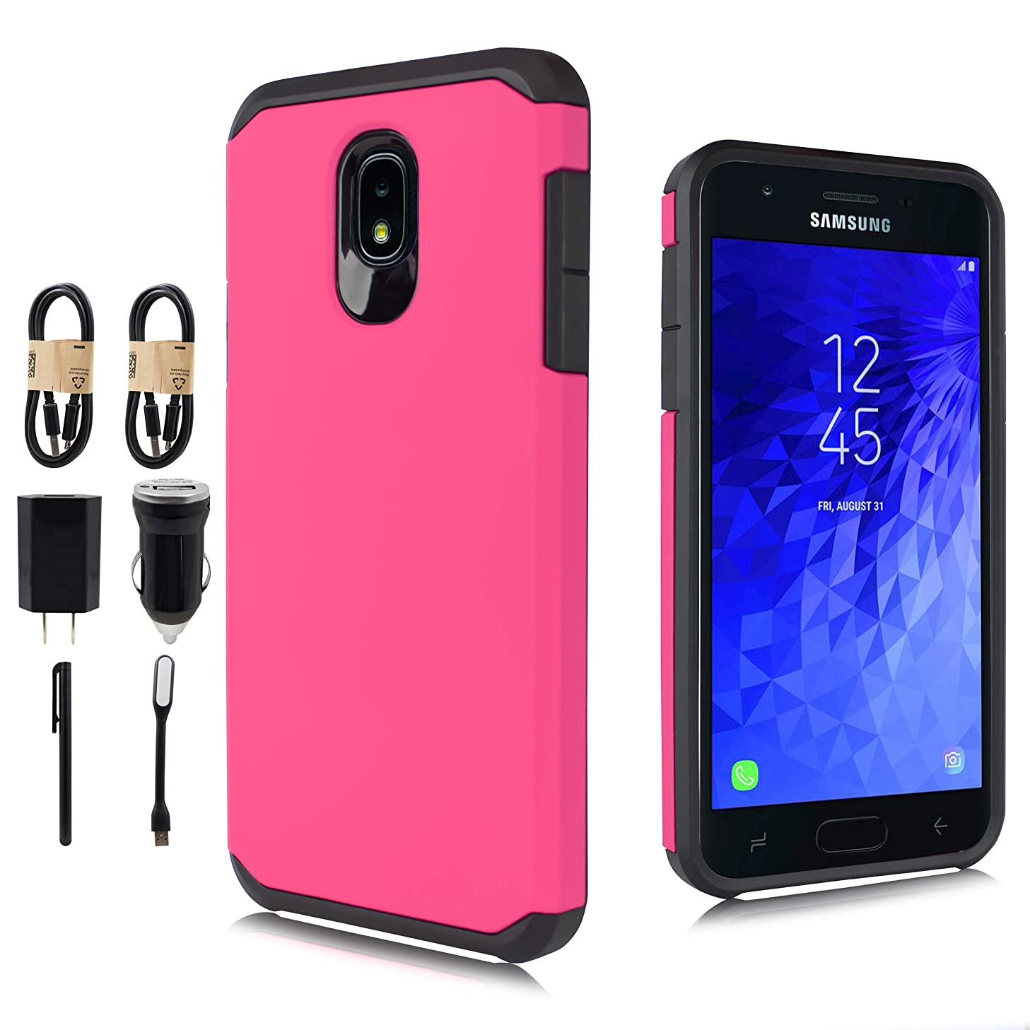 For Samsung Galaxy J7 2018/J7 V 2nd Gen/J7 Aero/J7 Star/J7 Top/J7 Crown/J7 Aura/J7 Refine/J7 Eon Case, Dual Layer Shock Proof Protective Rugged Cover [Value Bundle] (Pink)