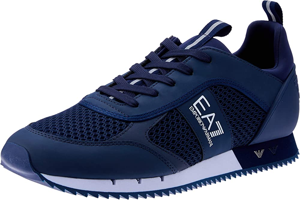 Ea7 emporio armani,scarpe sneakers per uomo,in mesh tecnico e poliuretano, BLU X8X027 XK050