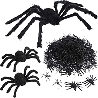 Tatuo Black 30 Inch Large Spider 2 Pieces 12 Inch Plush Spider 20 Pieces 3.1 Inch 300 Pieces 1.8 Inch Halloween Spiders Scary Decoration Halloween Party Houses Decorations
