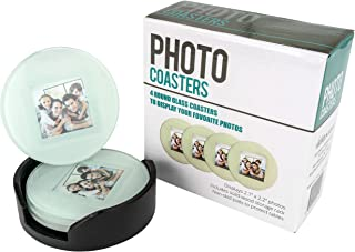 Glass Photo Frame Picture Coasters Circle with Wood Storage Rack (Set of 4)