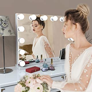 WeeiUs Large 32X26 Hollywood Makeup Vanity Mirror Lighted with 14 LED Bulbs Frame-Less Tabletop with 10X Magnification Detachable