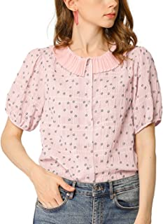 Allegra K Women's Floral Puff Sleeves Pleated Collar Button Down Blouse Shirt