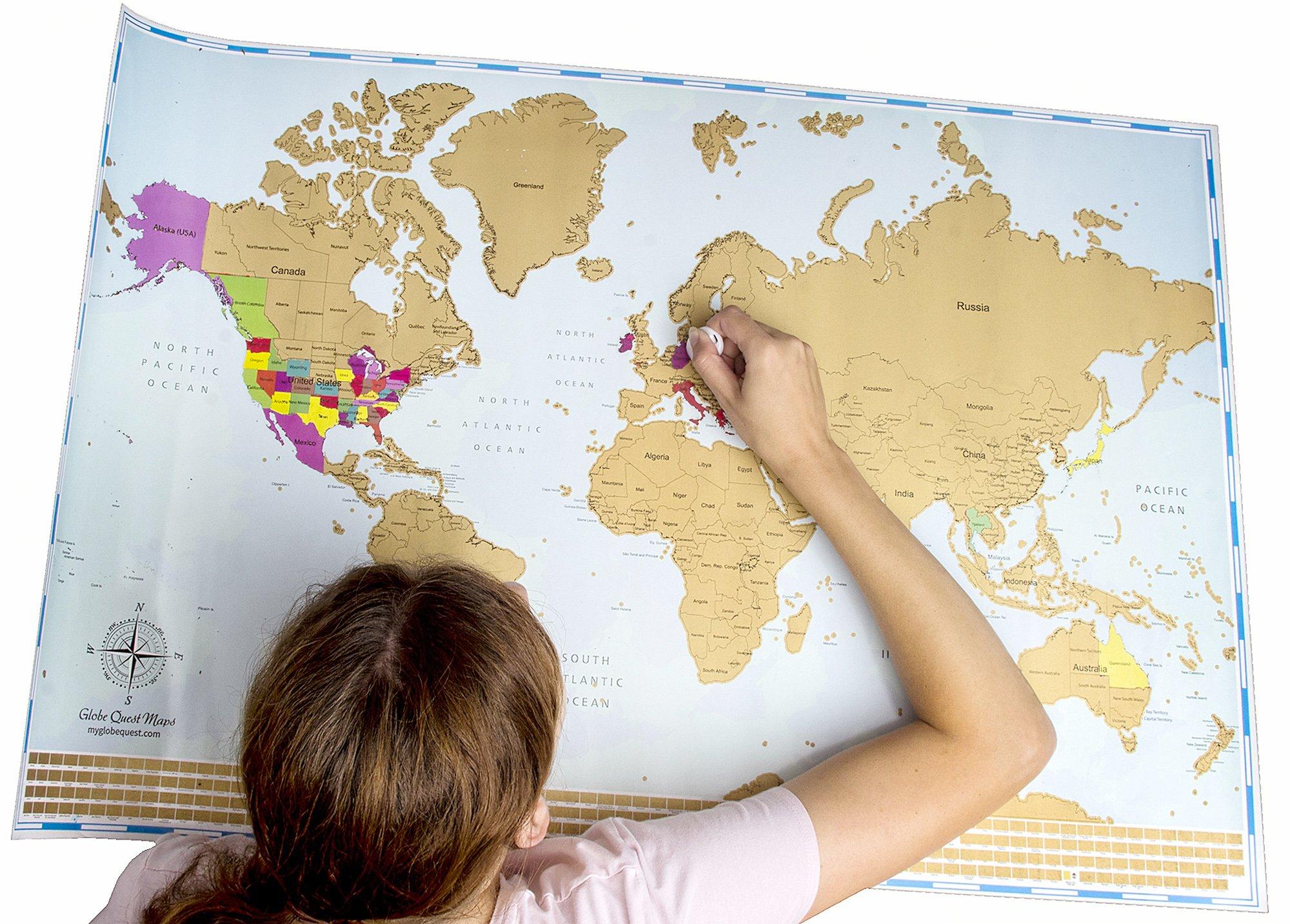 Mapa mundi para rascar | Colores vibrantes y textos en negrita | Mapamundi rascable Incluyendo españa |Regalo para viajeros | Edición deluxe 60 cm (alto) x 90 cm (ancho)-poster para pared |Globetrotter