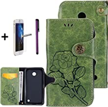 Nokia Lumia 635 Case, ISADENSER Leather Wallet Book Shell 3D Shine Diamond Embossing Tree Cat Butterfly Flip Cover Case for Nokia Lumia 635/630 + 1Pcs Touch Pen + 1Pcs Screen Protector