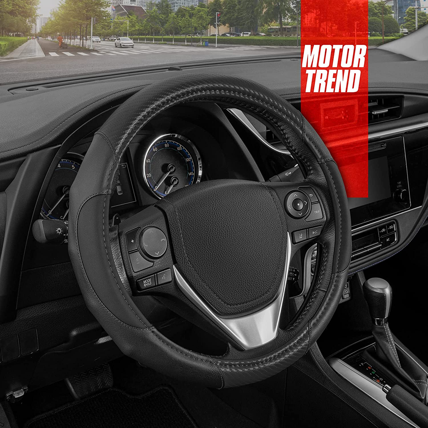 Motor Trend GripDrive Faux Leather Steering Wheel Cover with Black Carbon Fiber Accent – Universal Fit Black Steering Wheel Cover for Car Truck Van SUV, 14.5-15.5 Diameter