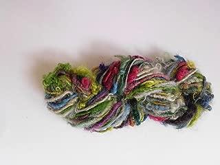 Multicolor Fuzzy Mohair Wool Blend Boucle Hand Spun Homespun Art Yarn