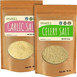Yamees Garlic Salt and Celery Salt - Bulk Spices - 2 Pack of 18 Ounces Each - Bulk Seasoned Salt