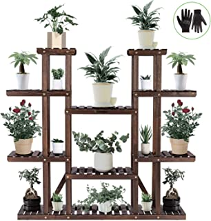 VIVOSUN 9 Tier Wooden Plant Stand Carbonized 17 Potted Flower Shelf Display Rack Holder 44.5