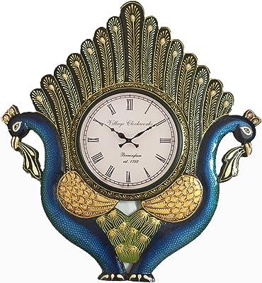 RoyalsCart Peacock Hancrafted Analog Wall Clock (KTWC319_45 cm x 3 cm x 60 cm)