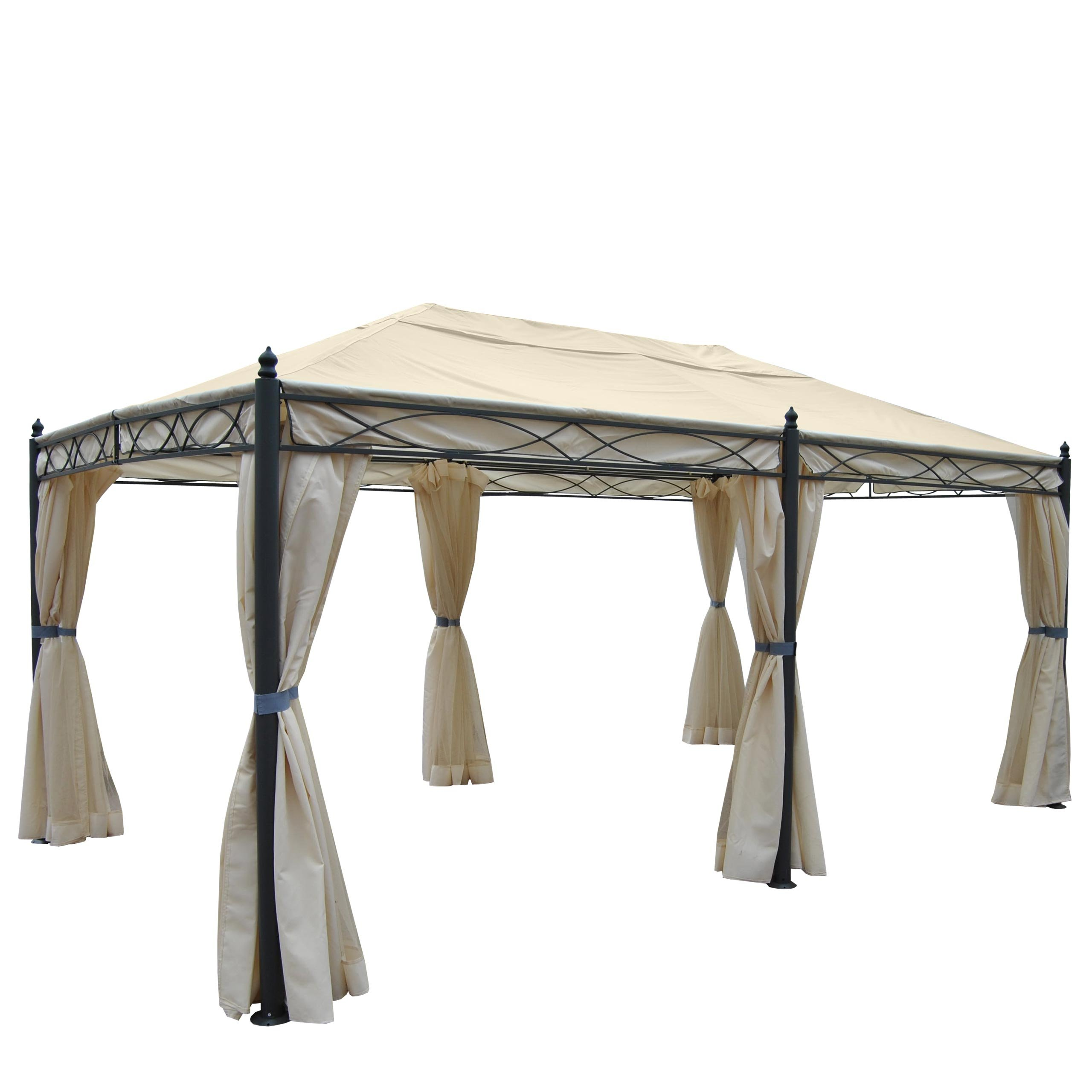 Pergola Cadiz, carpa, estructura estable de 7 cm 5 x 3 m ~ color crema con aspecto pared + Mosquitera: Amazon.es: Jardín