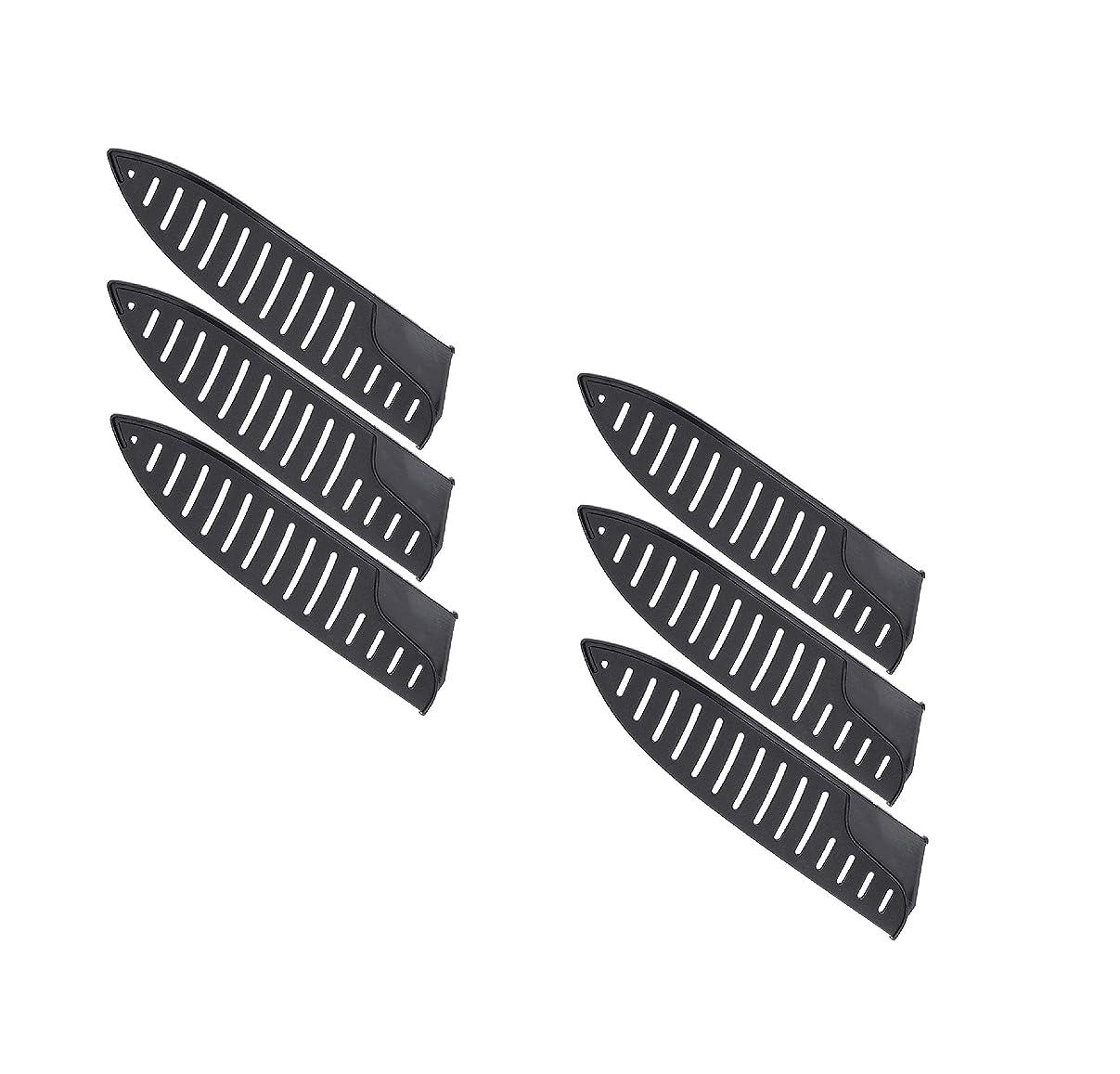 専制ピカソ下るBESTONZON 6本ナイフエッジガード - 8インチナイフ用の黒いプラスチック製キッチンナイフブレードプロテクターカバー