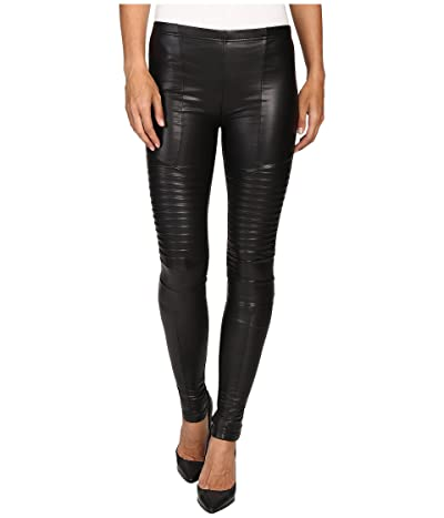 Plush Fleece-Lined Full Liquid Moto Leggings (Black) Women