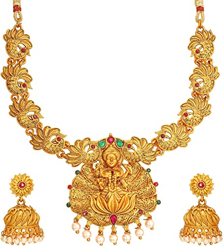 Fashion Jewellery Latest Designer Pearl American Diamond Gold Plated Bridal Chocker Temple Jewellery Set for Women Girls