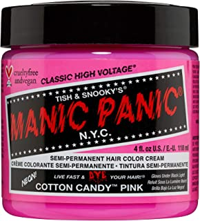 Manic Panic Cotton Candy Pink Hair Dye - Classic High Voltage - Semi Permanent Hair Color - Glows in Blacklight - Bright, Cool-toned Pink Shade - Vegan, PPD & Ammonia-Free