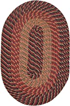 """product image for Plymouth Braided Rug in Black Red Gold (20"""" x 30"""" Oval) Made in New England"""