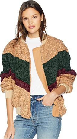 Color Block Teddy Faux-Fur Jacket