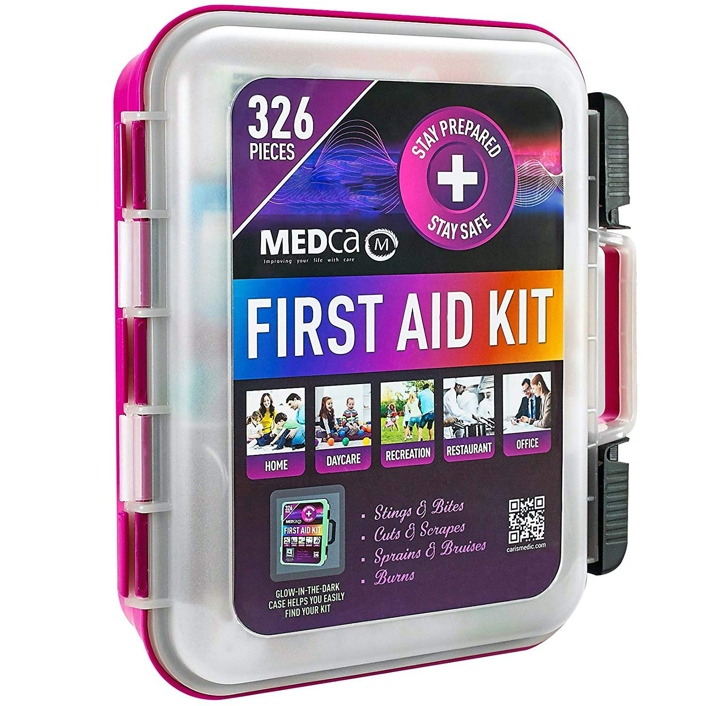 MEDca First Aid Kit Emergency First Aid Kit and Medical Kit Exceeds ANSI Z308.1-2009 OSHA Standards, Hard Case, Wall Mount & Glows in The Dark for Offices, Home, Schools, Daycare, Construction Sites