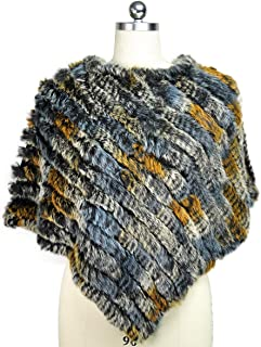 Real Rabbit Fur Shawls Women's Warm Knitted Genuine Fur Ponchos Jacket Blanket Cape for Winter