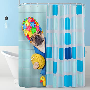 Cloth Fabric Bathroom Decor Set with Hooks 70 inches Pug Dog in a Bathtub with Funny Expression Yellow Duck and Towel Domestic Pet Wash Time Lunarable Pug Shower Curtain Multicolor