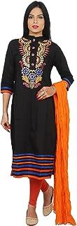 Rama Black Colour Embroidered Cotton Kurta with Orange Colour Legging & Dupatta.