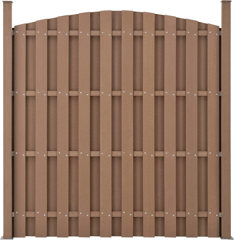 Set de 2X Vallas de jard/ín WPC 185 x 376 cm 2X Elementos de Valla Panel de Valla Marr/ón neu.holz