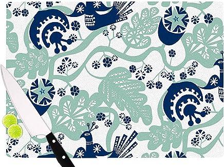 "KESS InHouse Agnes Schugardt""Folk Birds"" White Vector Cutting Board, 11.5"" x 15.75"", Multicolor"
