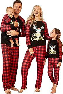 بيجامة عائلة PopReal مطابقة مجموعات البيجامات مطابقة عيد الميلاد مع رسالة الرنة مطبوعة منقوشة ملابس النوم