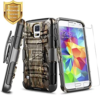 Galaxy S5 Belt Clip Holster Case w/[Tempered Glass Screen Protector], NageBee Defender Heavy Duty Armor Shockproof Kickstand Dual Layer Combo Rugged Durable Case for Samsung Galaxy S5 -Camo