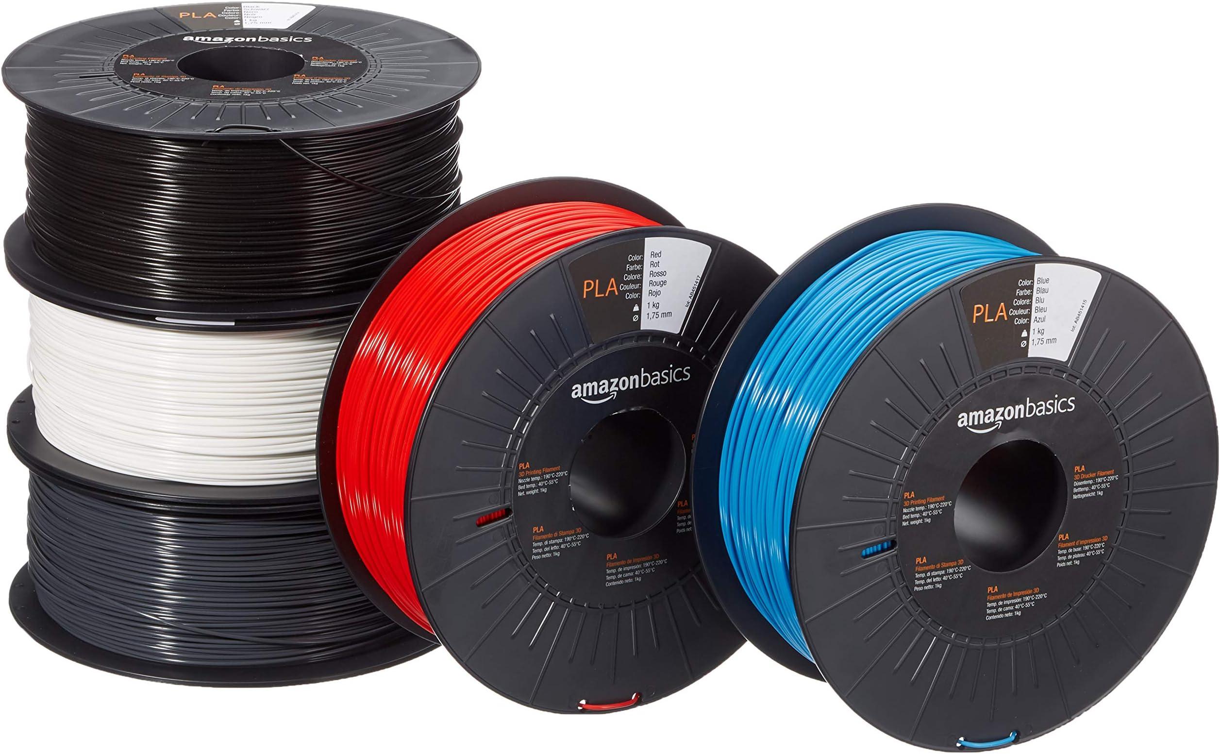 Amazon Basics PLA 3D Printer Filament, 1.75mm, 5 Assorted Colors, 1 kg per Spool, 5 Spools