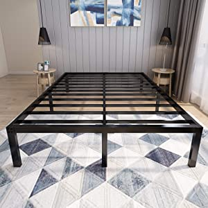 45MinST 18 Inch Platform Bed Frame/Easy Assembly Mattress Foundation / 3000lbs Heavy Duty Steel Slat/Noise Free/No Box Spring Needed,King