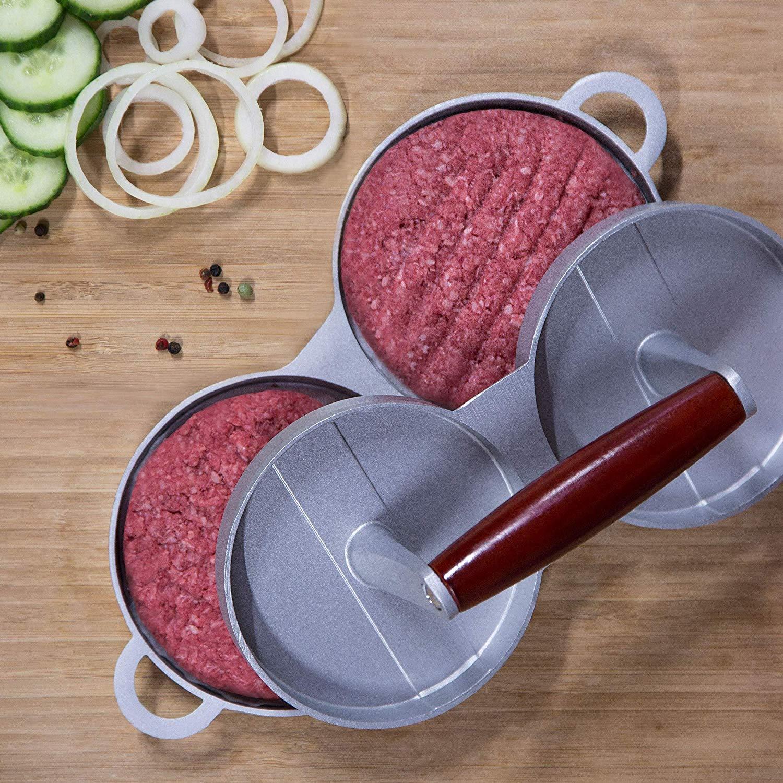Prensa doble para hamburguesas, de aluminio fundido antiadherente ...