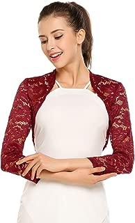 Women's 3 4 Sleeve Bolero Shrugs Crochet Lace Open Cardigan