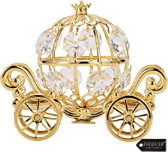 24K Gold Plated Crystal Studded Small Cinderella Pumpkin Coach Ornament by Matashi