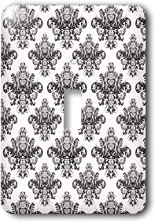 3dRose lsp/_113832/_1  Elegant Black and Red Baroque Damask Pattern Single Toggle Switch
