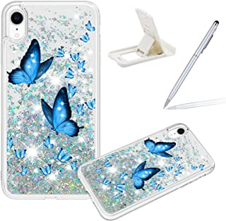 Liquid Clear Case for iPhone XR,Women Girls Glitter Cover for iPhone XR,Herzzer Creative Colorful Print Diamond Love Heart...