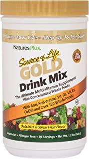 NaturesPlus Source of Life Gold Drink Mix - 1.2 lbs, Vegetarian Drink Mix - Tropical Fruit Flavor - Whole Food Multivitami...