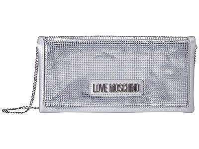 LOVE Moschino Platinum Metal Crossbody (Platinum) Handbags
