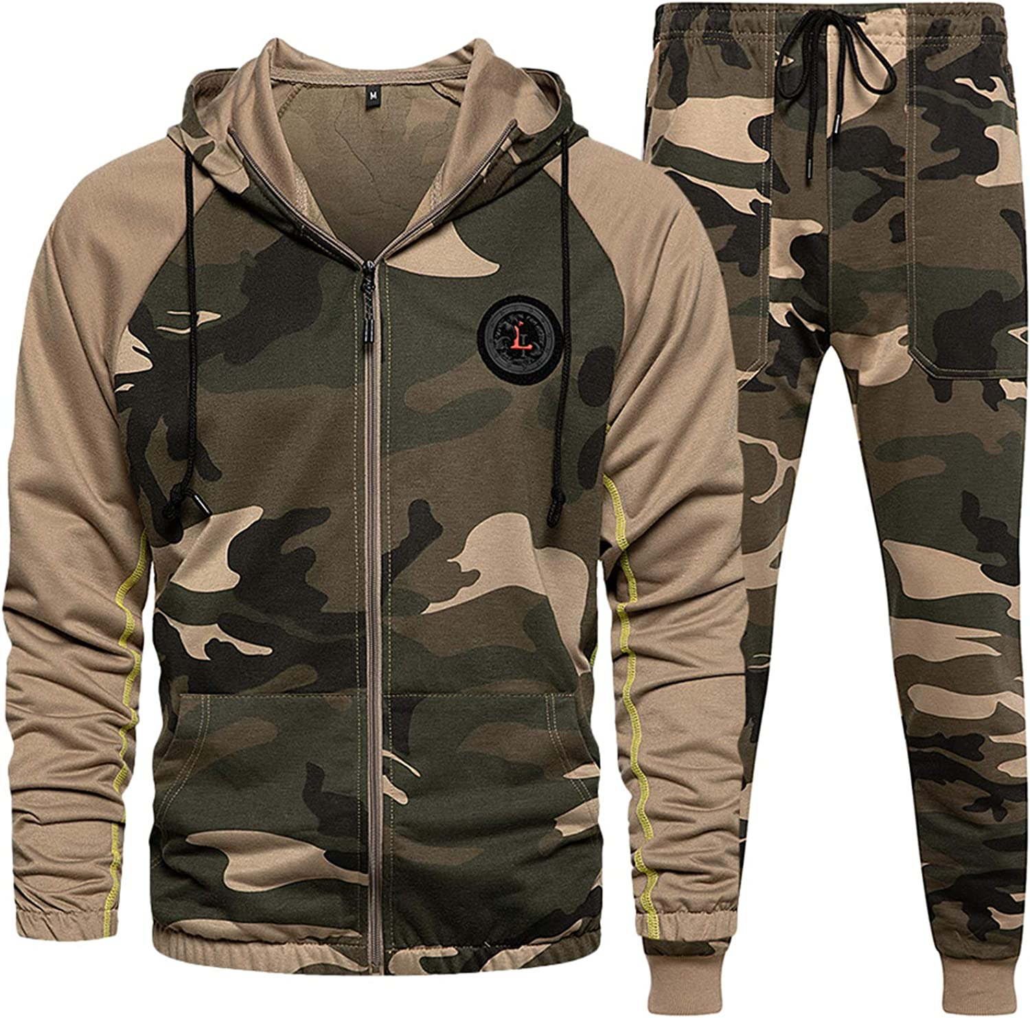 Max 55% OFF Mens Sweatsuits 2 Piece Hoodie Camo Tracksuit Over item handling Suits Casual Comfy