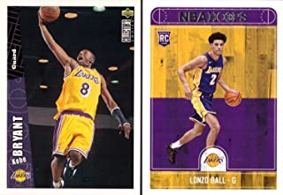 Los Angeles Lakers Kobe and Lonzo Rookie Card Lot of 2 - 1996-97 Upper Deck Collector's Choice Kobe Bryant Rookie Card and 2017-18 Panini NBA Hoops Lonzo Ball Rookie Card