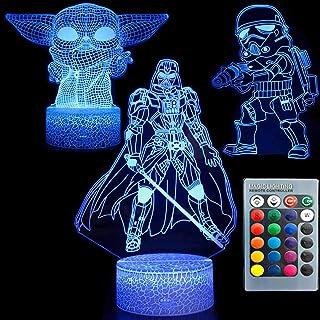 3D Illusion Star Wars Night Light Three Pattern 7 Cambio de color Lámpara de decoración Mesa de escritorio Lámpara de luz nocturna para niños para niños