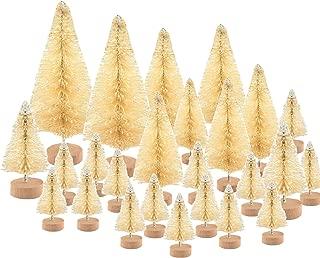 KUUQA 48 Pcs Mini Christmas Trees Bottle Brush Trees Tabletop Model Trees for Christmas Decoration DIY Room Decor Diorama Models (White)