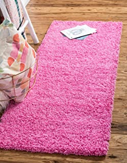 Unique Loom Solo Solid Shag Collection Modern Plush Taffy Pink Runner Rug (2' 2 x 6' 5)