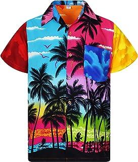 Funky Hawaiian Shirt for Men Short-Sleeve Front-Pocket Hawaiian-Print Every Shirt is a Unique Mix Beachdesigns