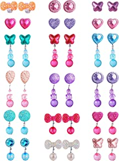 Clip on Crystal Earrings No Pierced Cute Colorful Dress up Princess Play Jewelry Non Piercing Ear Clip Earrings Christmas Party Gift