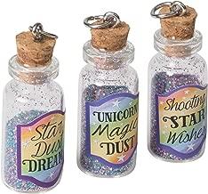 Magical Unicorn Dust Bottle Charm Purple 0.5 x 1.25 Glass Markers, Set of 3