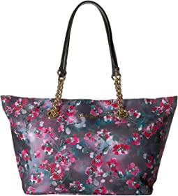 Key Item Nylon Floral Print Chain Tote